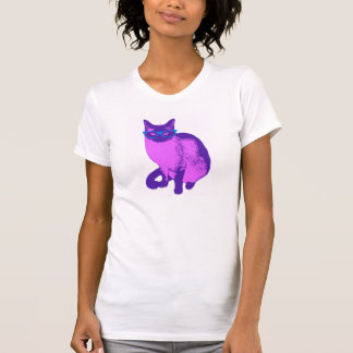 Hipster Cat in Pink and Purple T-Shirt