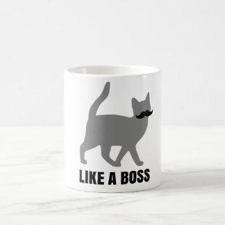 Hipster Cat like a boss Basic White Mug