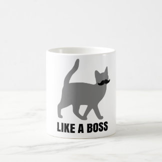 Hipster Cat like a boss Classic White Coffee Mug
