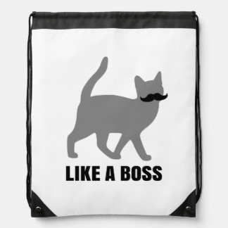 Hipster Cat like a boss Drawstring Backpack