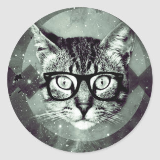 Hipster Cat Pet Animal Lovers Classic Round Sticker