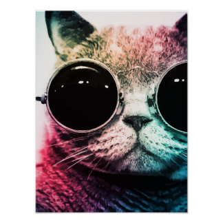 Hipster Cat Pop Art Poster