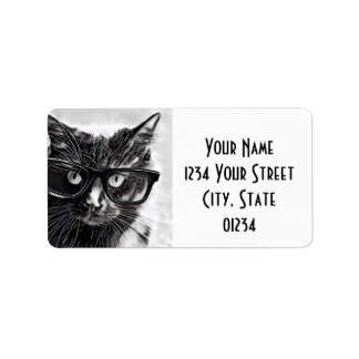 Hipster Cat Return Address, Black Cat in Glasses