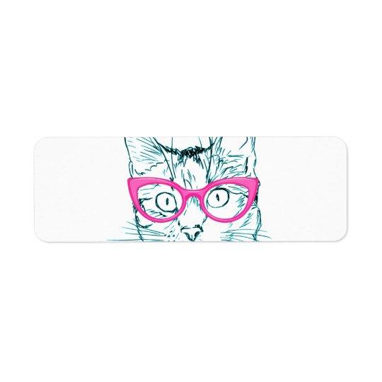 Hipster Cat Return Address Label