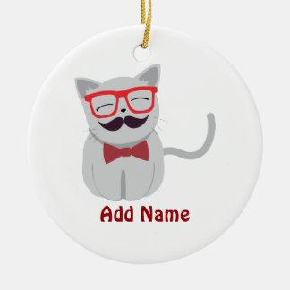 Hipster Cat Round Ceramic Ornament