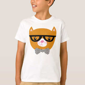 Hipster cat shirt with glasses and bow tie