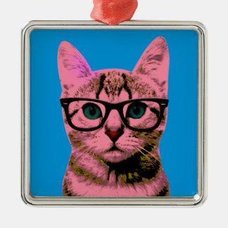 Hipster Cat Silver-Colored Square Ornament