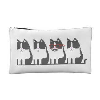 Hipster Cat Standing Out Pixel Art Cosmetics Bags
