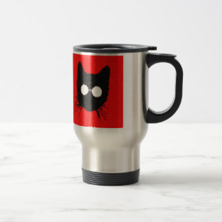 Hipster Cat with Glasses Silhouette – red & black Travel Mug