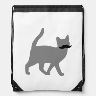 Hipster Cat with Moustache Drawstring Backpack