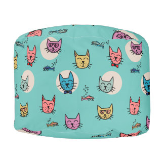 Hipster Cats and Fish Pouf