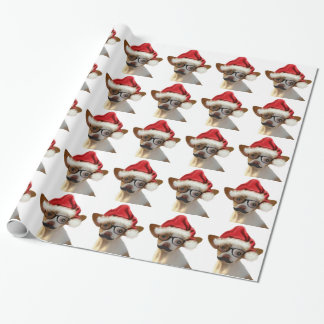 Hipster Chihuahua Christmas Wrapping Paper