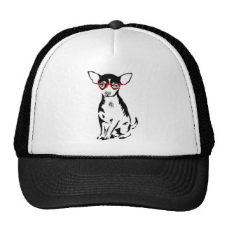 Hipster Chihuahua Red Glasses Hat
