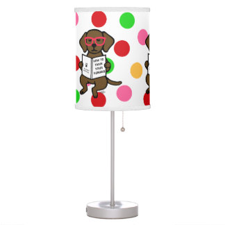 Hipster Chocolate Labrador Puppy Desk Lamps