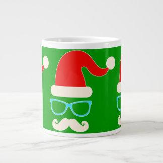 hipster christmas santa jumbo mug green