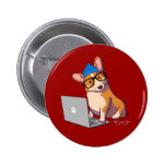 Hipster Corgi 2 (without text) Pinback Button