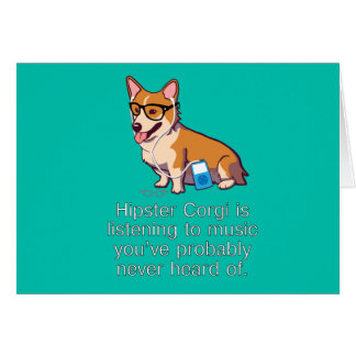 Hipster Corgi Note Card