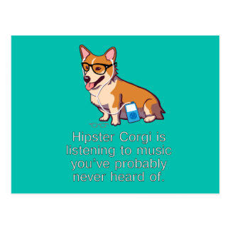 Hipster Corgi Post Card
