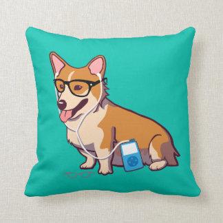 Hipster Corgi (without text) Throw Pillow