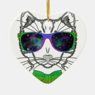 Hipster Cosmos Cat Kitten Space Ceramic Heart Ornament