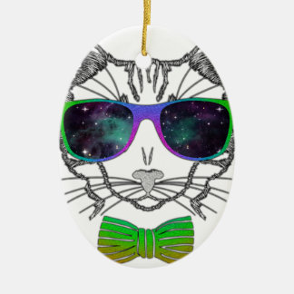 Hipster Cosmos Cat Kitten Space Ceramic Oval Ornament