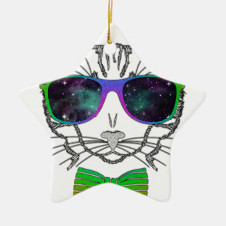 Hipster Cosmos Cat Kitten Space Ceramic Star Ornament