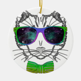 Hipster Cosmos Cat Kitten Space Round Ceramic Ornament