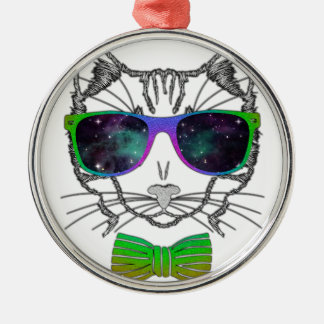 Hipster Cosmos Cat Kitten Space Silver-Colored Round Ornament