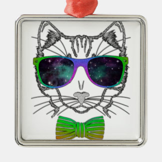 Hipster Cosmos Cat Kitten Space Silver-Colored Square Ornament