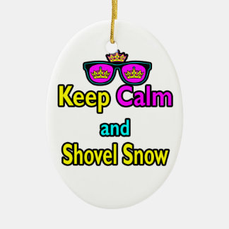 Hipster Crown Sunglasses Keep Calm And Shovel Snow Ceramic Oval Ornament