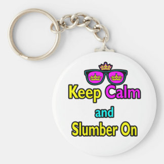 Hipster Crown Sunglasses Keep Calm And Slumber On Keychain