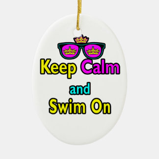 Hipster Crown Sunglasses Keep Calm And Swim On Ceramic Oval Ornament