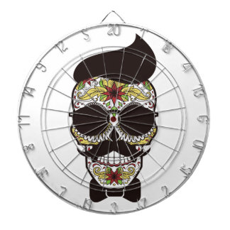 Hipster Day of the Dead Skull Dartboard With Darts