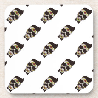 Hipster Day of the Dead Skull Drink Coasters