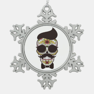 Hipster Day of the Dead Skull Pewter Snowflake Ornament