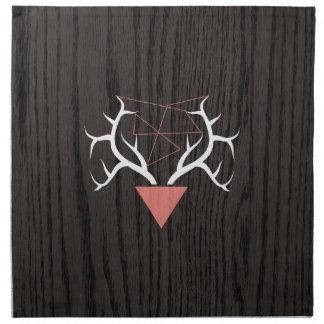 Hipster Deer Antlers Over Woodgrain Cloth Napkins