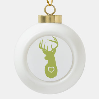 HIPSTER DEER HEAD WITH HEARTS CERAMIC BALL ORNAMENT