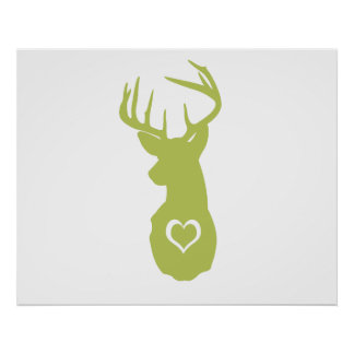 HIPSTER DEER HEAD WITH HEARTS POSTERS