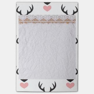 Hipster,deer,hearts,fun,modern,trendy,romantic,gir Post-it Notes