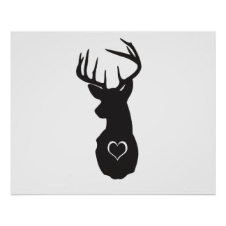 HIPSTER DEER WITH HEARTS POSTERS