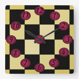 Hipster Diner Cafe Kitchen Clock Checkerboard