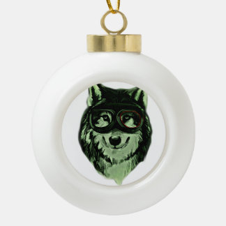 Hipster Dog Style Ceramic Ball Ornament