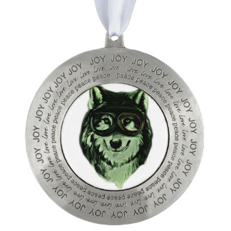 Hipster Dog Style Round Pewter Ornament
