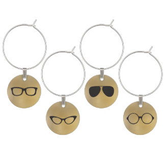 Hipster eyeglasses faux foil wine charms