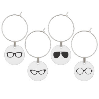 Hipster eyeglasses wine glass charms
