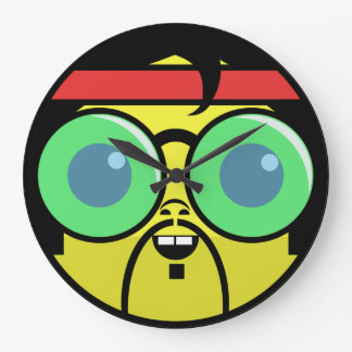 Hipster Face Large Clock