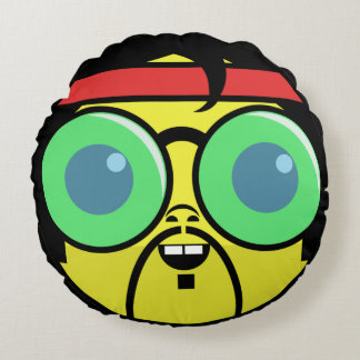 Hipster Face Round Pillow