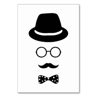 Hipster Face Table Card
