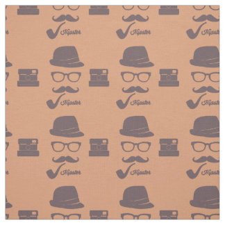 Hipster Fedora, Eyeglasses, Mustache Fabric