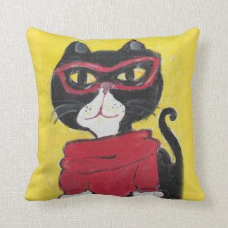 Hipster Folk Art Turtleneck Cat Throw Pillow